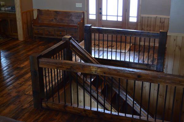 reclaimed wood railings | railing reclaimed wood stair treads reclaimed pine stairs reclaimed ...