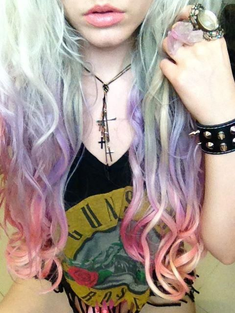 Pastel. Candy Coloured. Green, Pink, Purple, Dip Dye. Hair