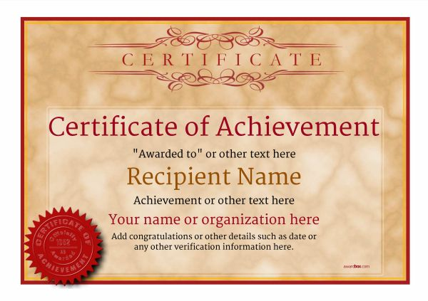 certificate-of-achievement-template-award-classic-style-1-default-seal Image