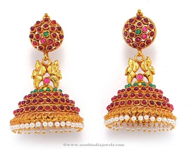 Antique Ruby Jhumka Designs, Gold Plated Antique Ruby Jhumka Designs.