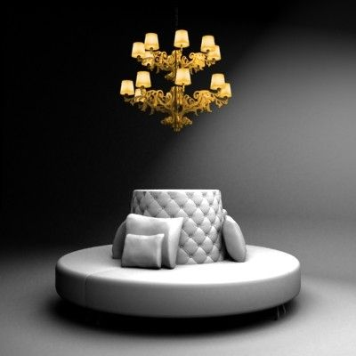 Sofa Lamp 3d Model Round Sofa With Lamp By 3devent