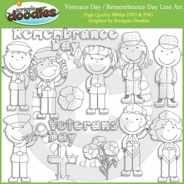 Veterans Day and Remembrance Day Line Art Download