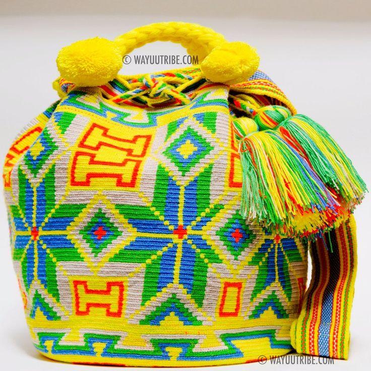 One of A Kind Wayuu Calf Skin Lined Mochila Bag - Single Woven Thread, Quick Ship Anywhere, and International!  $595.00 #wayuubags www.wayuutribe.com