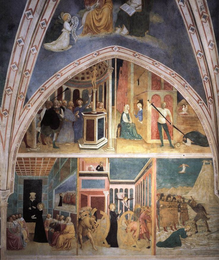 MASOLINO da Panicale Scenes from the Catherine Legend (left wall) 1425-31 Fresco Castiglione Chapel, San Clemente, Rome