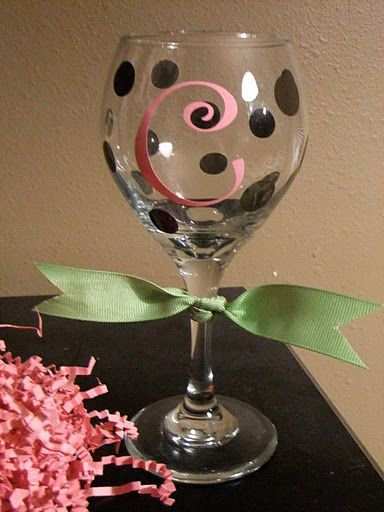 Cricut Vinyl Lettering Ideas | DIY Wine Glasses : wedding black bridesmaids diy gifts pink wine ...
