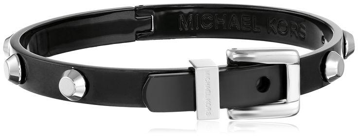 Michael Kors Black and Silver Astor Stud Hinge Bangle Bracelet. Black stainless steel bangle bracelet with polished stainless steel stud and buckle accents. Hinged closure. Imported.