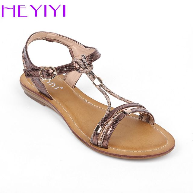 a42271da2 HEYIYI Shoes for Women Flat Sandals Rivets Beach Causal Narrow Band Fashion  Leisure Round Toe Comfortable Buckle Strap Shoes