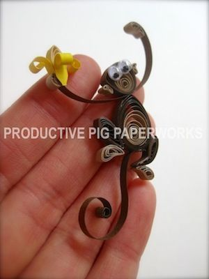 Googly-Eyed Simple Quilled Monkey and Banana                                                                                                                                                                                 More