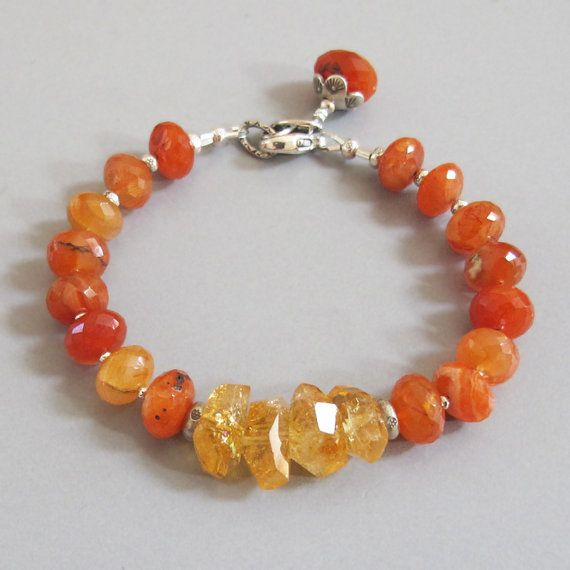 Fiery Carnelian Citrine Nugget Gemstone Sterling Silver Bead Bracelet Orange Yellow