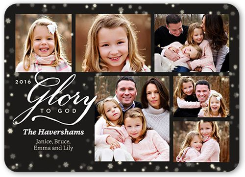 Glory To God Collage Religious Christmas Card, Rounded Corners, Black