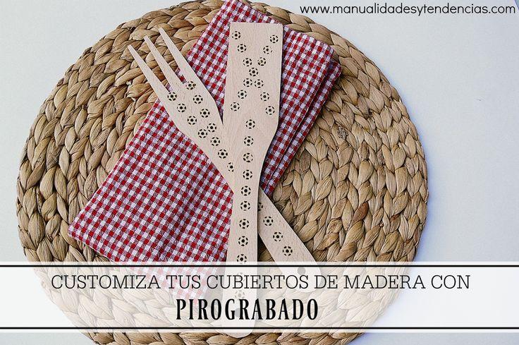 Pirograbado: customizar cubiertos de madera www.manualidadesytendencias.com #wood #burning #pirograbado #pyrogravure #cubiertos #madera #diy #decorar #customizar
