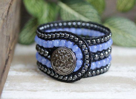 Hematite Beaded Leather Cuff, 5 Row, Boho Bracelet, Blue Opal, Black Leather Wrap Bracelet, Statement Bracelet, Leather Jewelry