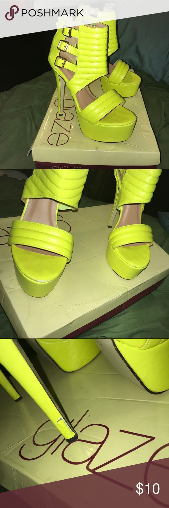 Neon yellow shoes Sexy neon heels with some flaws but I still wear them out and get compliments on them all the time. Love these babies Shoes Heels