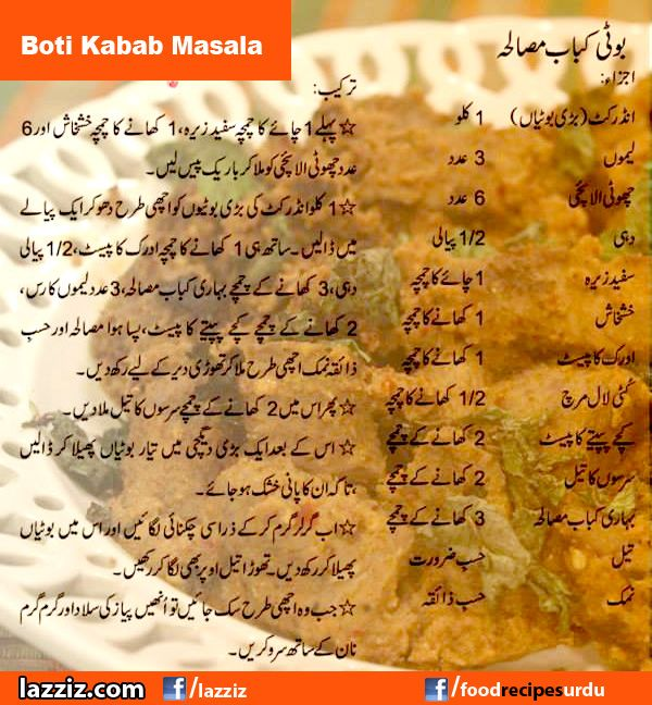 Boti Kabab Masala recipes in urdu english Handi Masala tv Zubaida Tariq ramadan ramzan eid special