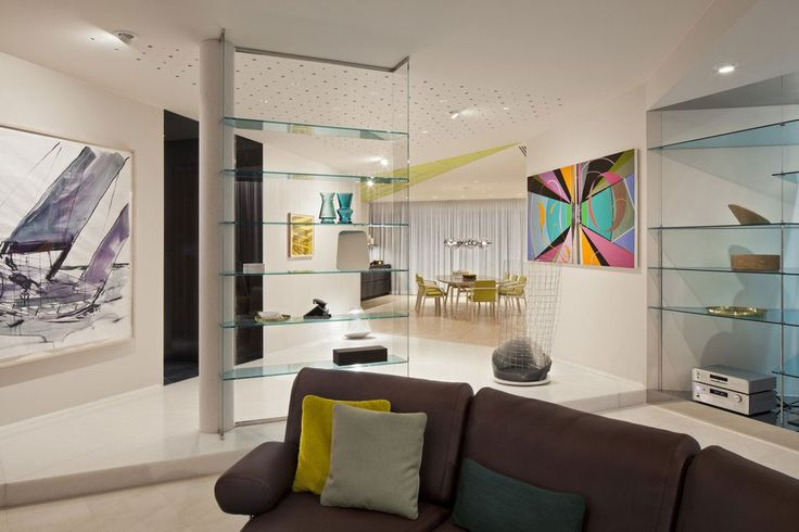 Apartment: Stylish Ritz Apartment in Almaty, Kazakhstan by COORDINATION, Beautiful Glass Wall Shelves Decorating Idea for Display Shelves also Abstract Art Painting Decor in a Living Room and Dining Room Hallway