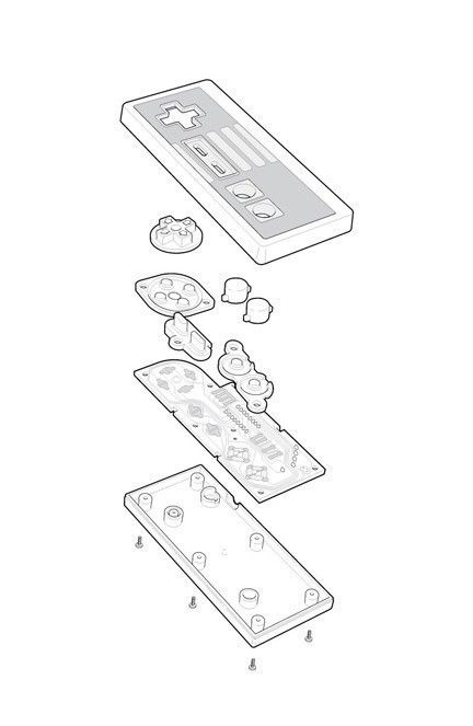Nintendo NES controller technical exploded view poster. $20