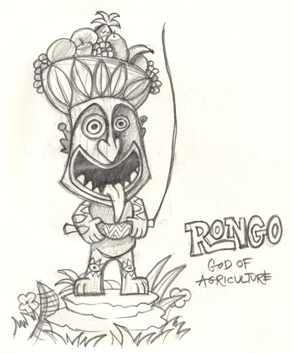 The Enchanted Tiki Gardens Rongo This Is Initial Sketch Version Colored
