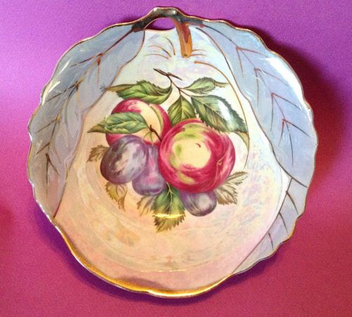Iridescent-Hand-Painted-Candy-Bowl-Blue-Deco-Leaves-Fruit-And-Gilding-Japan