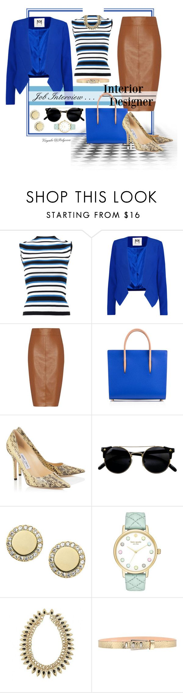 """""""Outfit for Job Interview"""" by viryabo ❤ liked on Polyvore featuring Dolce&Gabbana, Milly, Bailey 44, Christian Louboutin, FOSSIL, Kate Spade, Dsquared2, contest, contestentry and fashionset"""