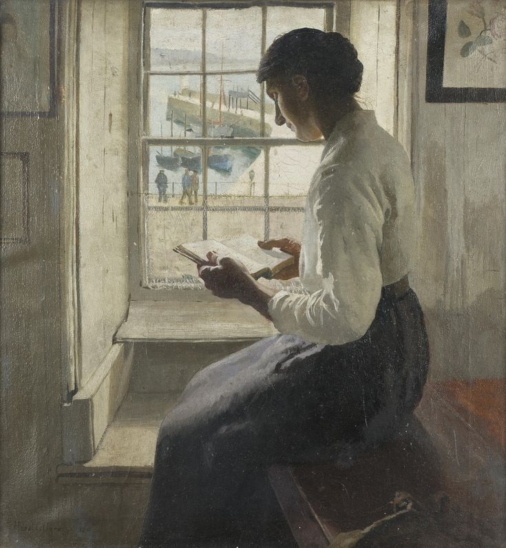 The New Book (1920) - Harold Harvey (British 1874-1921). Oil on canvas.