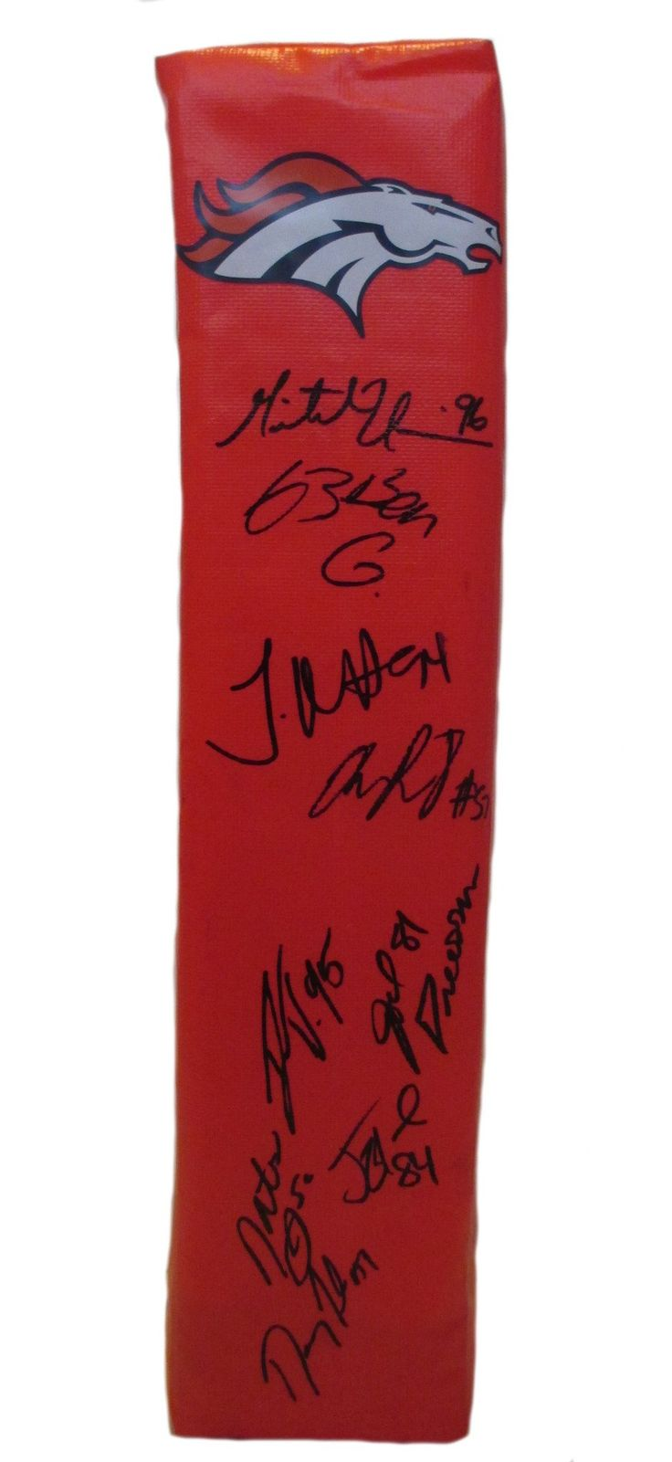 2013 Denver Broncos Team Autographed Full Size Football End Zone Touchdown Pylon, Proof. This is a brand-new custom 2013 Denver Broncos team signed full sizefootball end zone pylon. This pylon measures 4inches (Width) X 4inches (Length) X 18inches (Height). The following Broncos signed the pylonin black sharpie: Head Coach John Fox, CJ Anderson, Montee Ball, Danny Trevathan, Matt Prater, Chris Clark, Tony Carter, Mike Adams, David Bruton, Duke Ihenacho, Wesley Woodyard, Mitch Unrein…