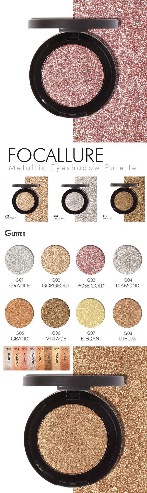 FOCALLURE Metallic Eyeshadow Palette Glitter Shimmer Matte Makeup Eye Shadow Make Up
