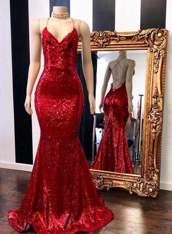 64f76934c19 Spaghetti Straps Red Backless Mermaid Glitter Prom Dresses Elegant Evening  Dresses