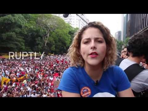 Brazil: Protesters line streets of Sao Paulo calling for Temer to go - YouTube