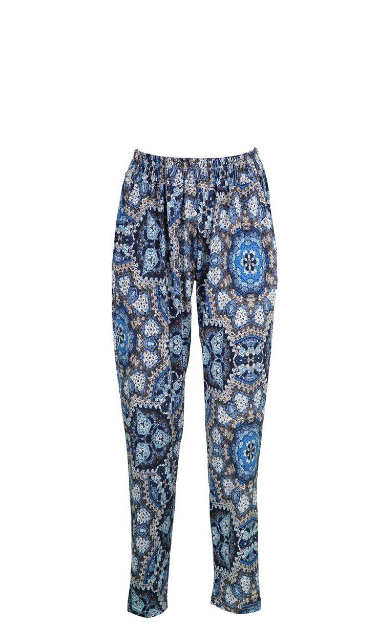 Pantalon en viscose imprimé ,look boho OLEO BLEU,vendu sur www.depechmod.fr 39.9€
