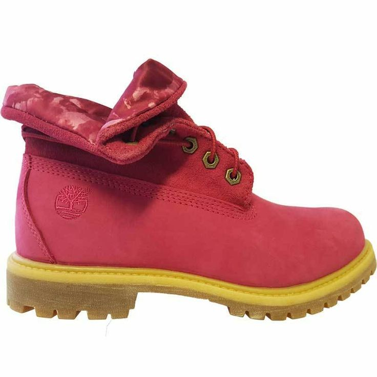 womens timberland roll top boots pink