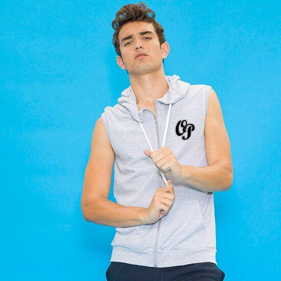 Sweat à capuche zippé homme sans manches  original perso heather grey face