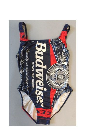 sale//One piece BLUE Budweiser 'Bud' Beer by CatApolinarVintage