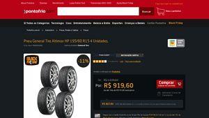 [PontoFrio.com] Pneu General Tire Altimax HP 195 / 60 R15 4 Unidades. 1000032260 - de R$ 959,17 por R$ 827,64 (13% de desconto)