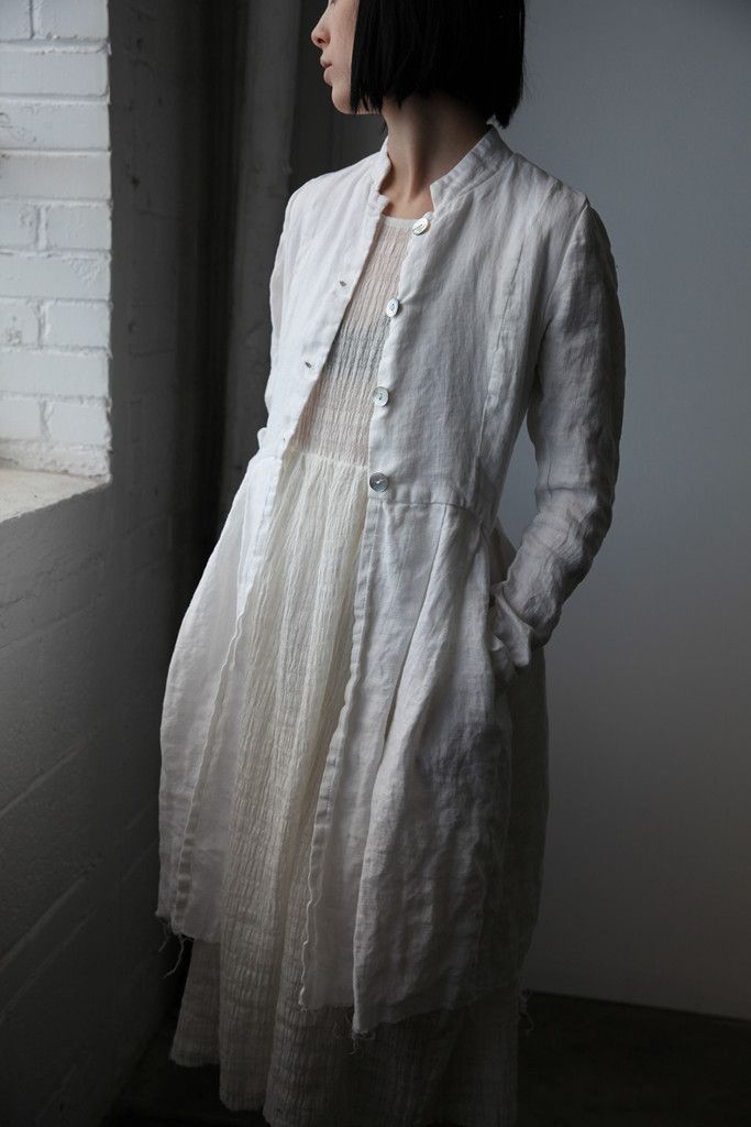 Róisín Washed Linen Long Jacket - Natural White | Ovate