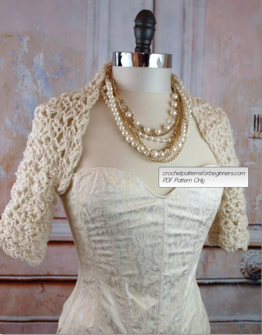 Looking for your next project? You're going to love Lacey Bridal Shrug by designer lucilleandirma.