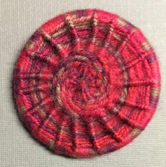 Dorset Button Brooch  pink wool