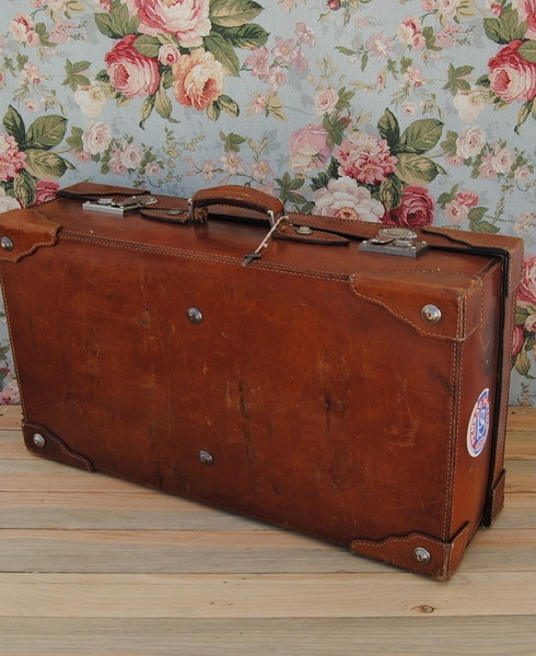 LEDER Extra Large Antique Caramel Leather Bag - Vintage Gepäck Koffer      * Erstaunliche Jahrgang großen Lederkoffer in einem wunderschönen alten Kar