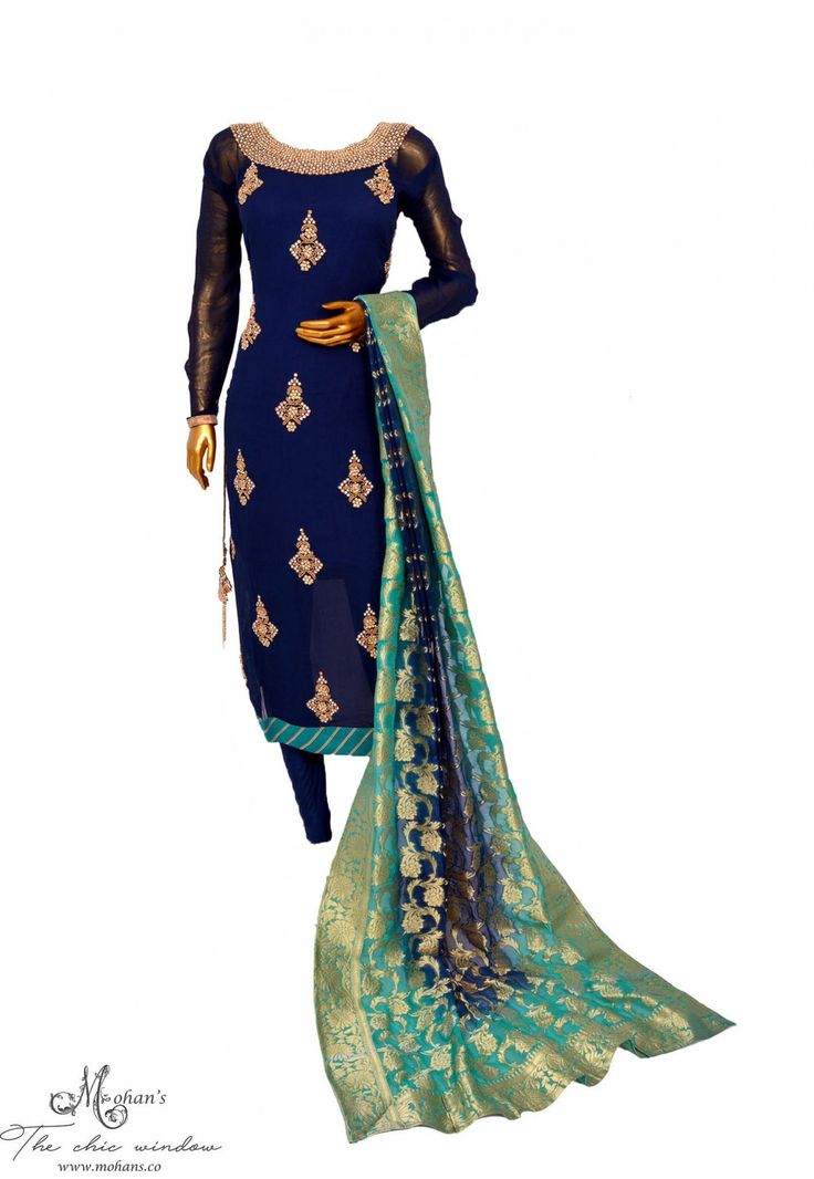 Royal suit in navy blue and green with delicate handwork butti and woven benarasi dupatta