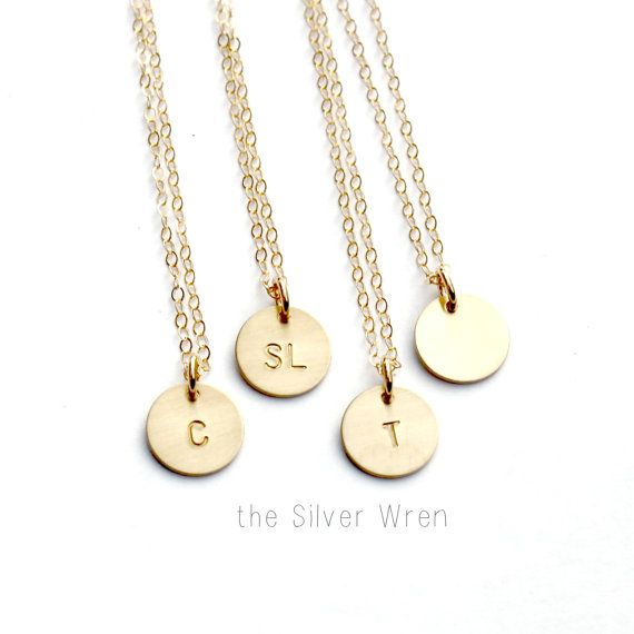 Gold Personalized Necklace Gold Initial Necklace by TheSilverWren