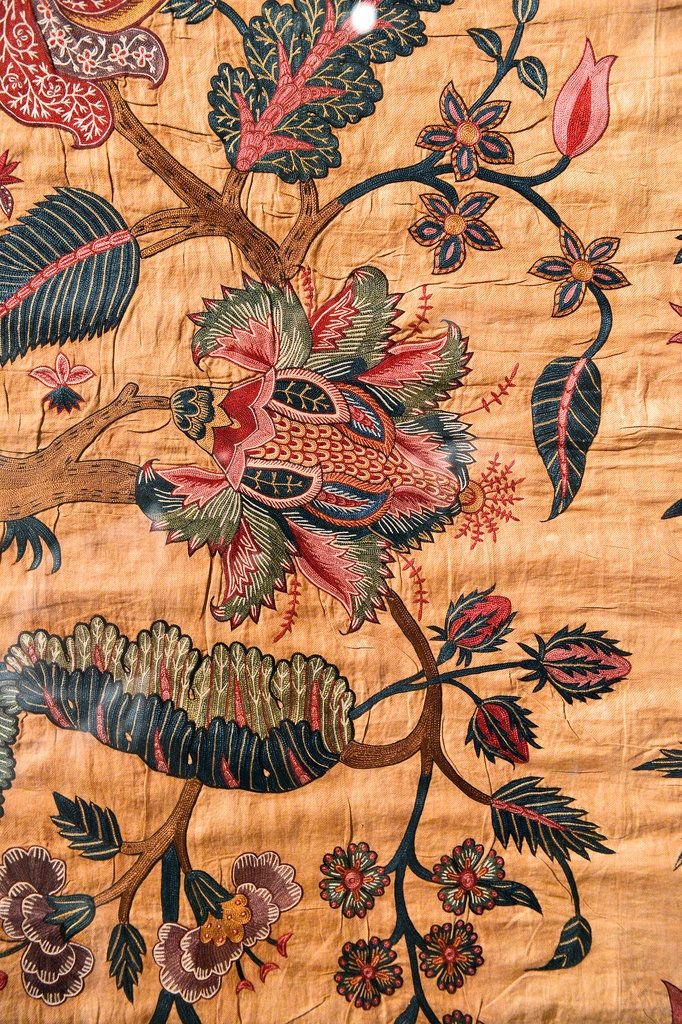 A mid-18th-century palampore created for the European market. While such designs may well have originated in England and then sent to India as a template, Ms. Smith notes, the Indians made them all their own.
