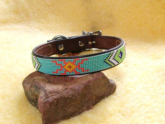 Beaded Dog Collar   by LeathernBeads on Etsy