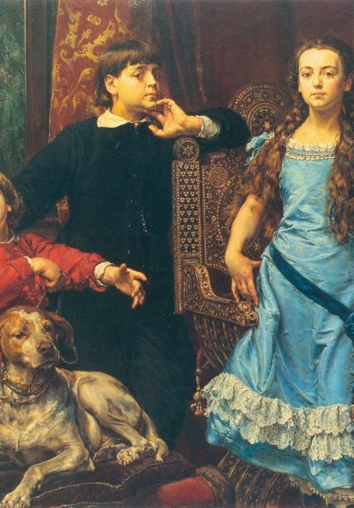 Polish painter's portrait of his four children (cropped) - Jan Matejko (1838 -1893)
