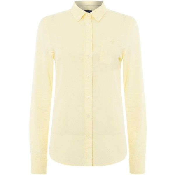 Gant Air Oxford Shirt (1 480 UAH) ❤ liked on Polyvore featuring tops, sale women tops, beige shirt, beige top, shirt top, gant and cotton oxford shirt