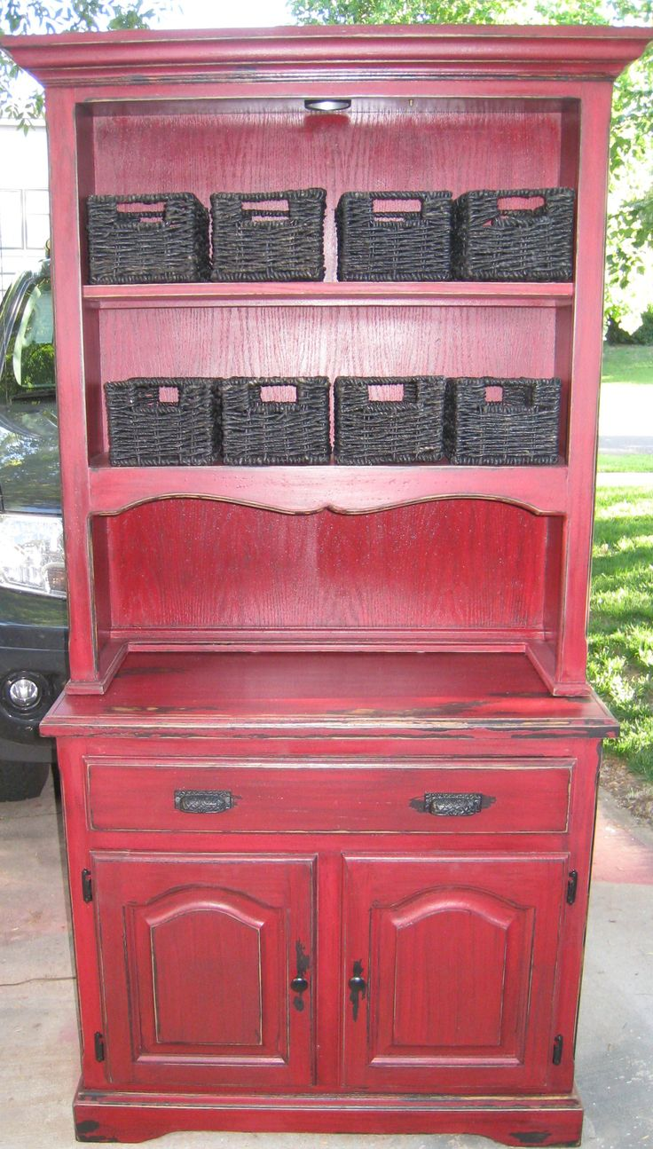 11 best red kitchen hutch coffee bar images on pinterest red red cabinets in kitchen