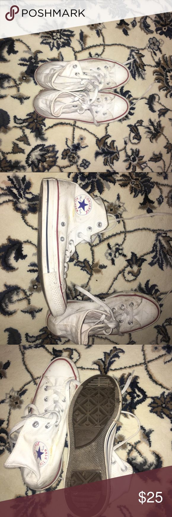 White high top converse White high top converse. I honestly only wore them once to a Halloween party so hence the dirt. I'm sure if you just threw them in the wash they'd be good as new. Open to offers Converse Shoes Sneakers