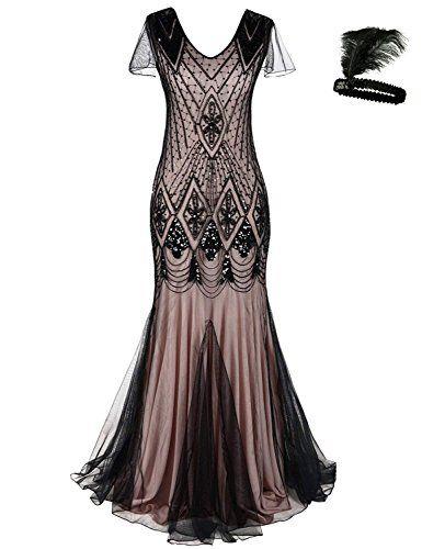 5ec656037e General Les Femmes des années 1920s garçonne Cocktail Maxi Longtemps Gatsby  Robe sirène Robe de soirée Dress (Black Rose L)