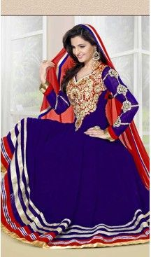 Ravishing Blue Faux Georgette Long Length Anarkali Chudidar Suit