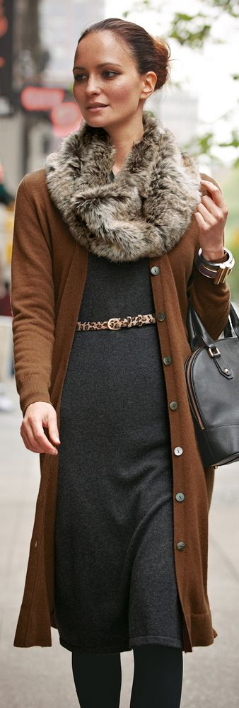 Knit dress, long cardigan, fur scarf, leopard belt...love it all!
