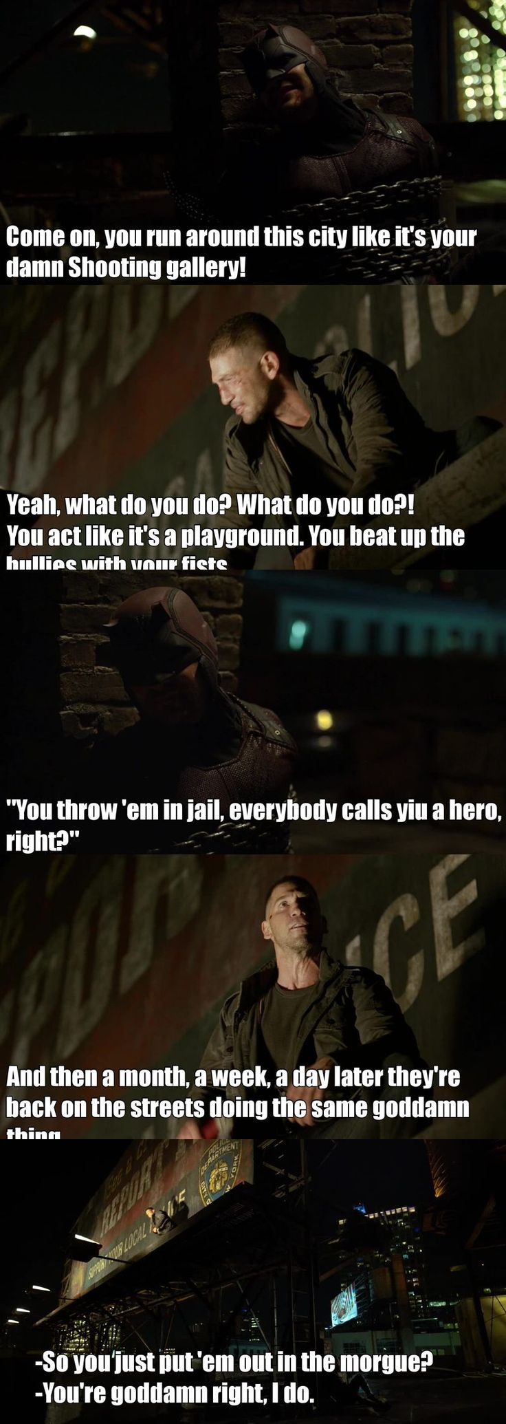 What a brilliant actor this guy is (Jon Bernthal aka The Punisher). The way he depicts in this scene is damn accurate! Love The Punisher!