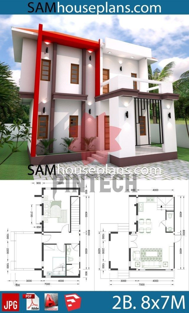 House Plans 8x7 With 2 Bedrooms Samhouseplans House Plans 8x7 With 2 Bedrooms Sam House Plans In 2020 House Plans Bungalow House Design Bedroom House Plans